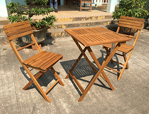 Acacia Wood Bistro Table & Chairs Set