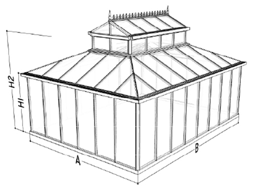 cathedral greenhouse dimension drawing 1