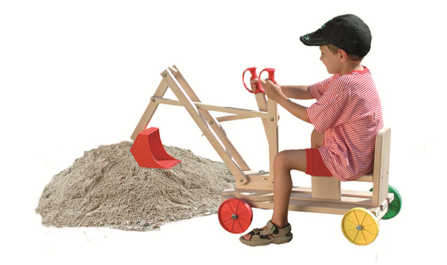 Excavator Wooden Toy w. Realistic Scooping Action