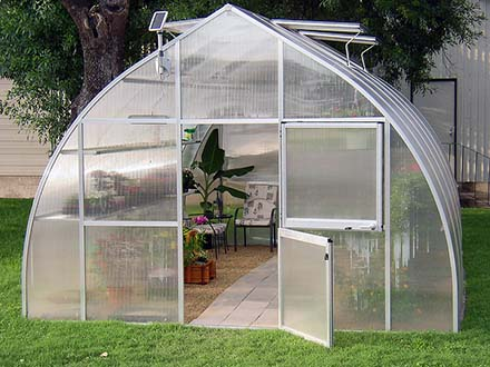 riga xl greenhouse front with door open