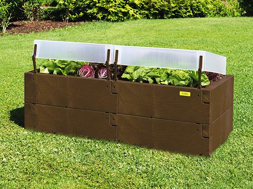 brown timber raised bed with covers