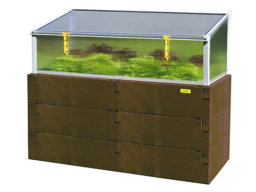 brown timer raised bed double and single combo with raised bed no background