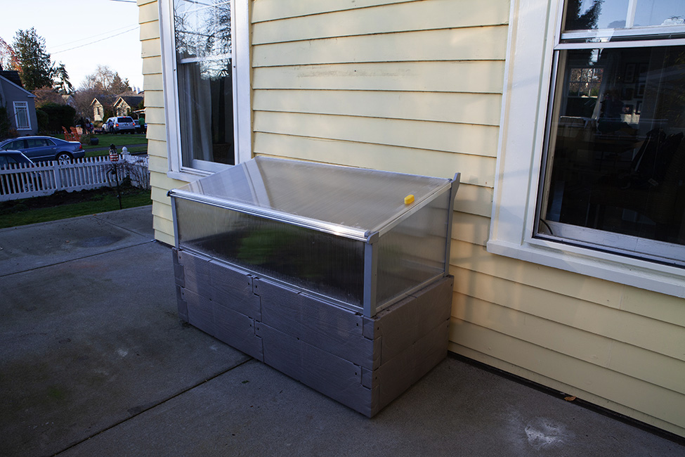 gray timber raised bed with cold frame against house