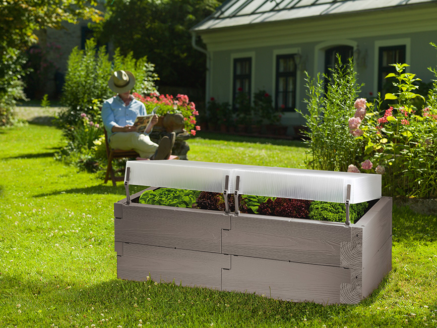 gray timber raised bed with covers