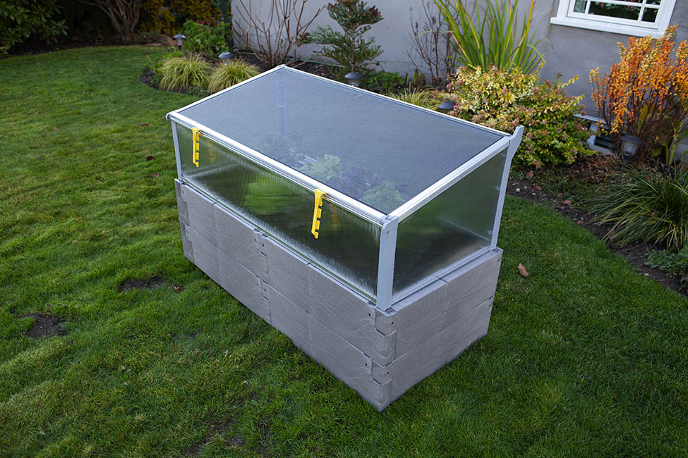gray timber raised bed with cold frame 3/4 view