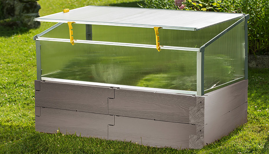 Timber raised bed with year round cold frame gray