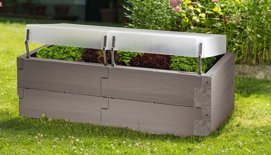 Timber raised bed double grey