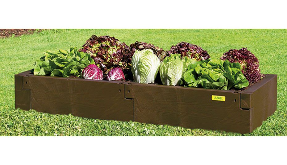 Timber raised bed single level brown