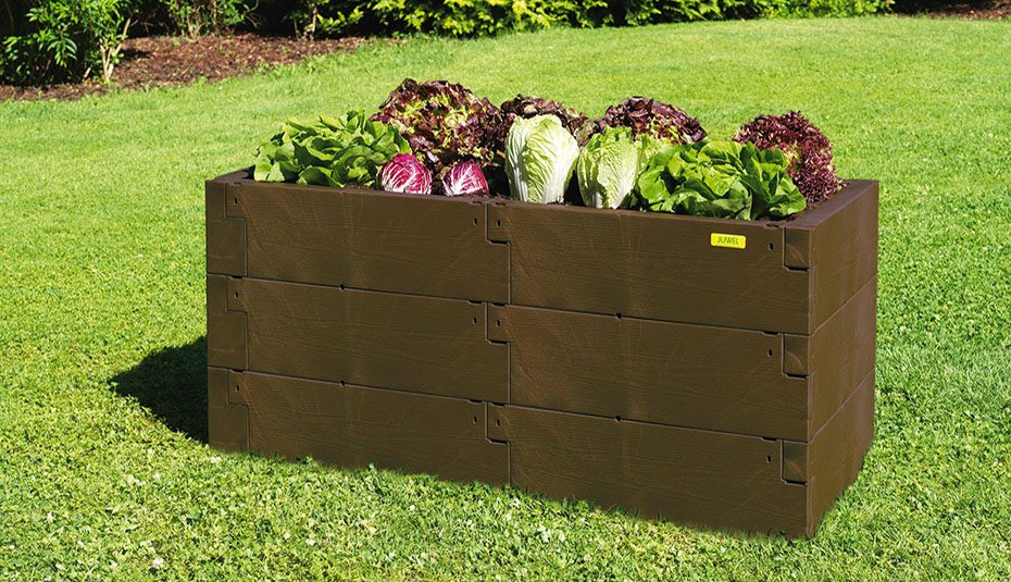 Timber raised bed double and single brown