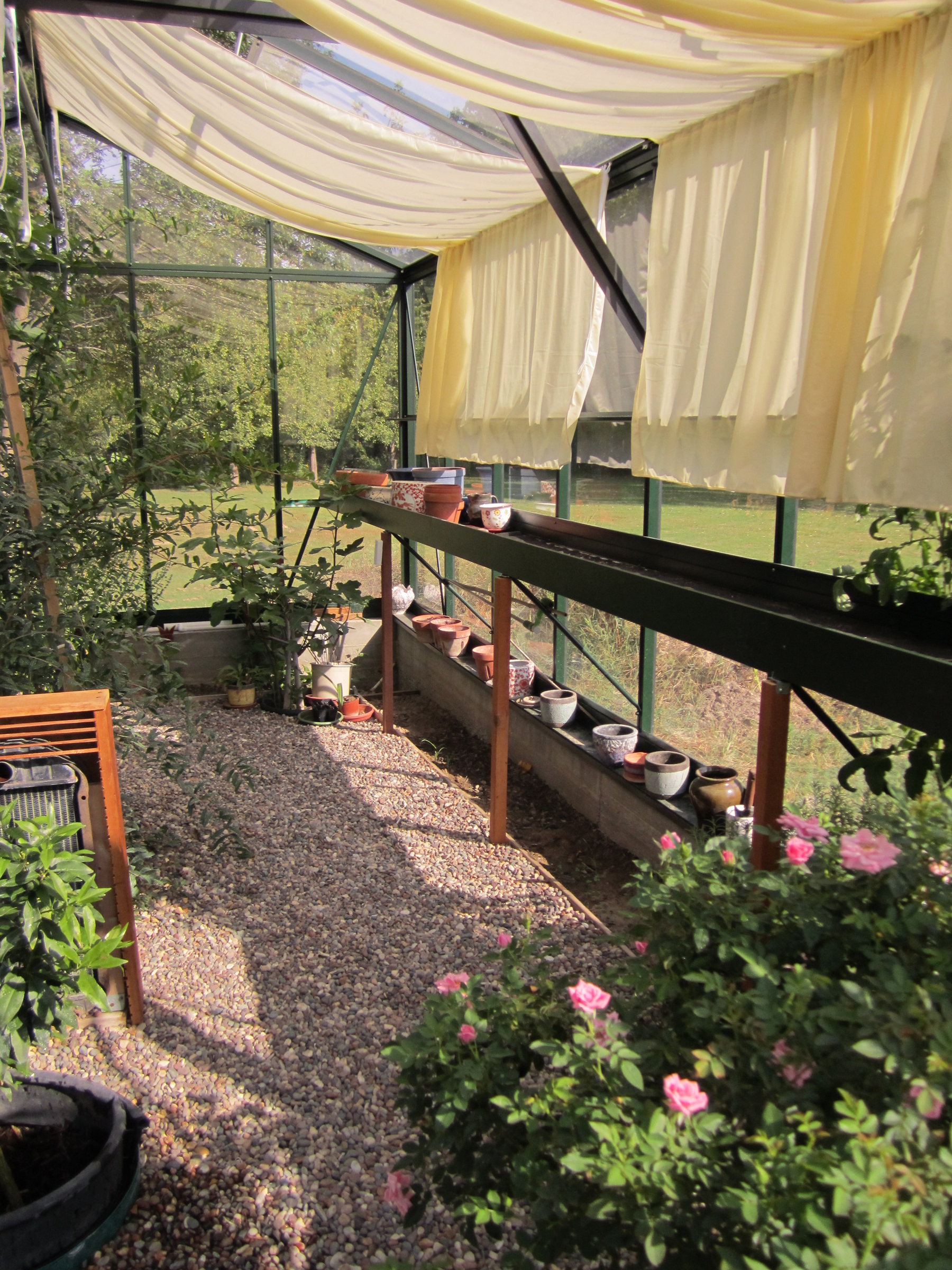 shade netting and shelving in use